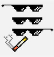 glasses in pixel on a white background vector image