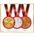 Gold silver and bronze labels vector image