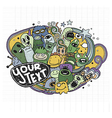 Hand drawn Monsters and cute alien vector image vector image