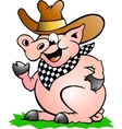 Hand-drawn of an Pig Chef that Welcomes vector image vector image