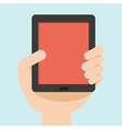 hand with tablet flat design vector image vector image