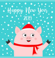 happy new year 2019 pig wearing red hat scarf vector image vector image