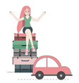 happy traveler woman sitting on suitcases vector image