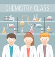kids in chemistry class flat education concept vector image vector image