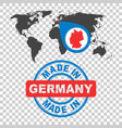 made in germany stamp world map with red country vector image vector image