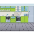 Modern green kitchen interior vector image vector image