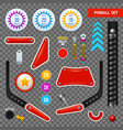 pinball elements transparent icon set vector image
