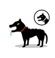 rabid dog in flat style and icon vector image vector image