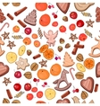 Seamless Christmas pattern with mandarines vector image vector image