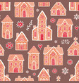 seamless pattern with sweet delicious gingerbread vector image vector image