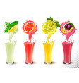 set fruit juice splash in a glasses mint and vector image