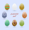 set of easter eggs painted in a zenart style and vector image vector image