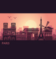 stylized landscape of paris with eiffel tower arc vector image vector image