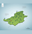 stylized map bulgaria isometric 3d green map vector image