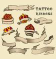 tattoo ribbon set vector image vector image