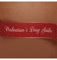 Valentines Day Sale curved red and golden Ribbon vector image