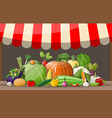 wooden supermarket shelf with vegetables vector image