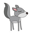 female wolf cartoon with closed eyes expression vector image