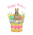 easter bunny in basket with eggs vector image