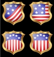 American flag on metal shiny shield vector image vector image