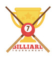 billiard tournament emblem with crossed cues and vector image