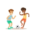 Boys Playing Football Kid Practicing Different vector image vector image