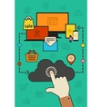 cloud computing and synchronization concept vector image