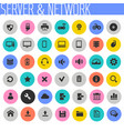 computer and server networks icon set trendy flat vector image vector image