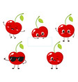 cute happy red cherry character set vector image vector image