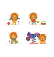 cute lion character in different situations funny vector image vector image
