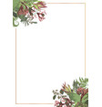 decorative golden rectangular frame with brunia vector image vector image