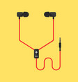 earphones isolated on yellow background vector image vector image