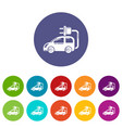 electric car icons set color vector image vector image