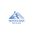 engraving style blue mountains icon vector image