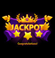 golden text jackpot with stars and crown on violet vector image vector image