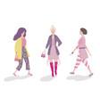 group fashionable girls walking and posing vector image