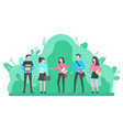 group young people outdoors communicate vector image