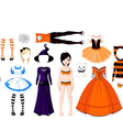 halloween paper doll with different costumes vector image vector image