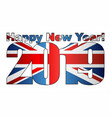happy new year 2019 with united kingdom flag vector image