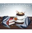 hot coffee splash winter background vector image vector image