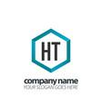 initial letter ht hexagon box creative logo black vector image vector image