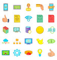 internet entertainment icons set cartoon style vector image vector image