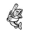largemouth bass with baseball bat batting mascot vector image vector image