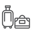luggage line icon travel and baggage suitcase vector image vector image