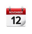 November 12 flat daily calendar icon vector image vector image