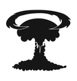 Nuclear explosion icon in black style isolated on vector image