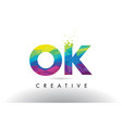 ok o k colorful letter origami triangles design vector image vector image