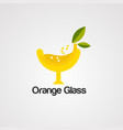 orange glass logo icon element and template vector image