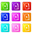 playing card icons 9 set vector image vector image