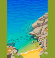 sea lagoon with rocks and a small beach vector image vector image